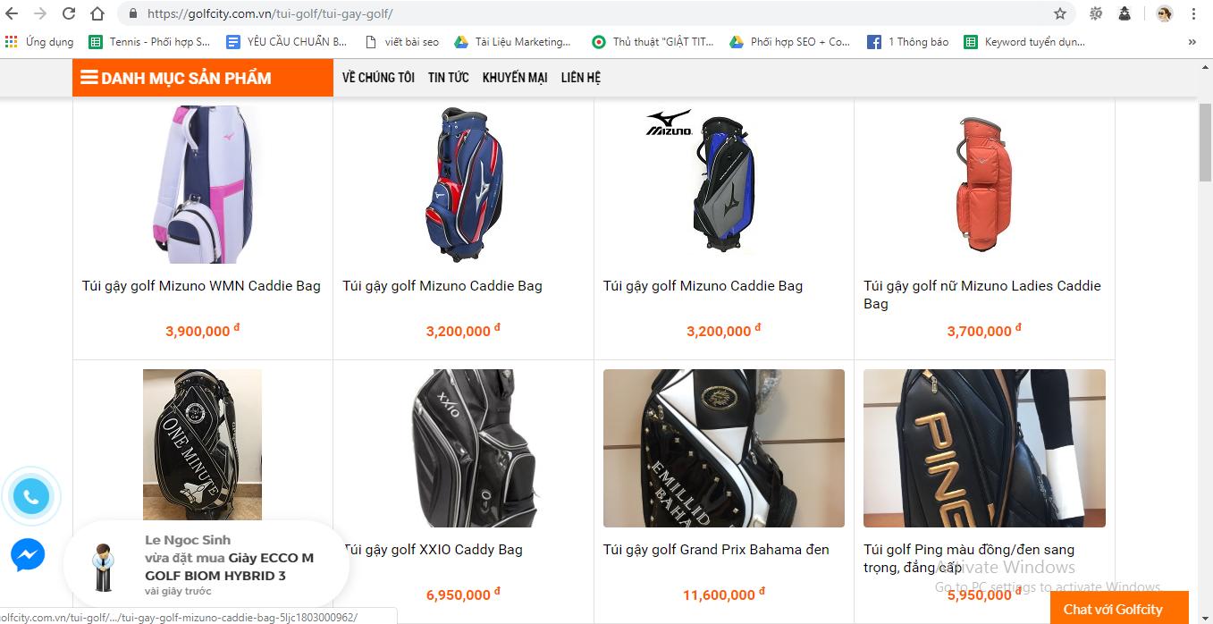 Địa chỉ bán túi đánh golf giá rẻ