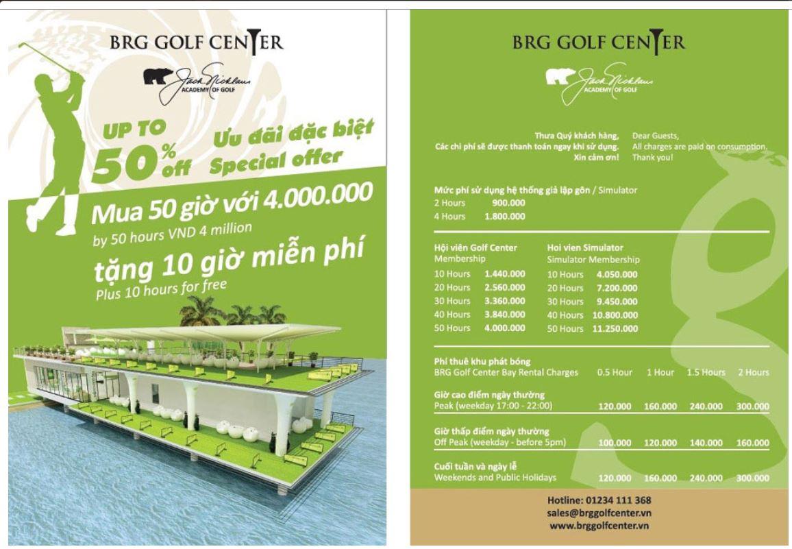 Bảng giá sân tập golf Hà Nội BRG GOLF