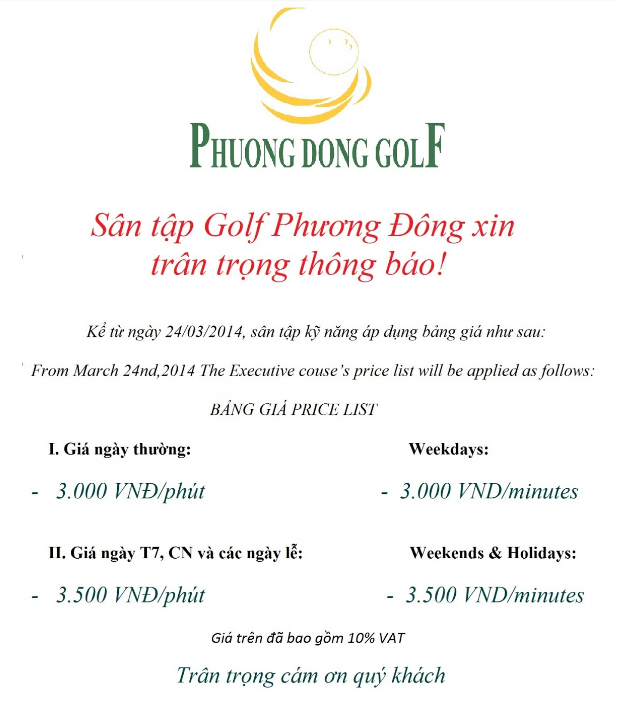 địa chỉ sân tập golf Phương Đông tại Hà Nội