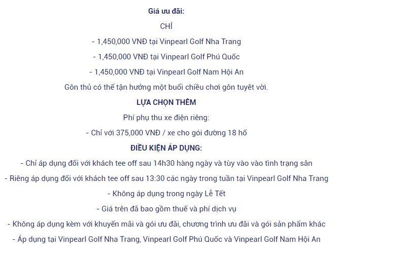 Mức giá sân golf Nha Trang Vinpearl