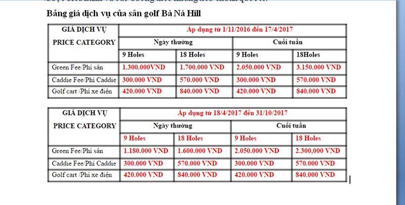 Bảng giá dịch vụ sân golf Ba Na Hill