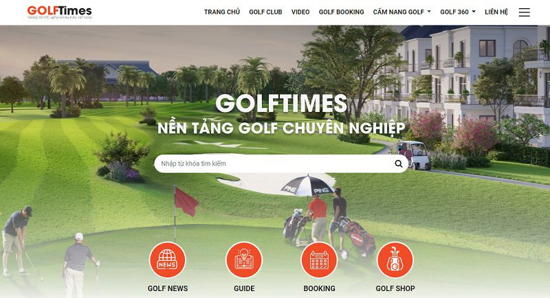 Giao diện mới của website Golftime